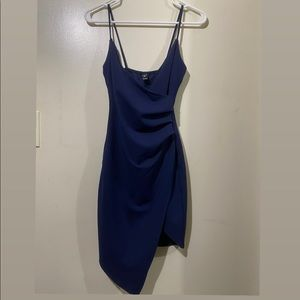 Blue Asymmetrical windsor dress